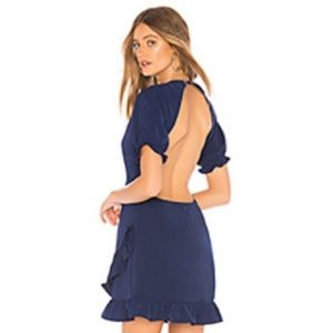 About Us Navy Blue Backless Mini Dress